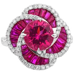 1.73 Carat Round Pink Tourmaline Ruby 14Karat White Gold Cocktail Flower Ring