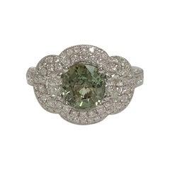 IGL Certified 1.78 Carat Alexandrite and 1.11 Carat Diamond Ring