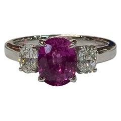 IGL Certified 2.41 Carat Pink Sapphire and Oval Diamonds Platinum Ring