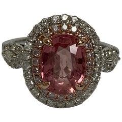 IGL Certified 2.67 Carat Padpardscha Sapphire Diamond Ring