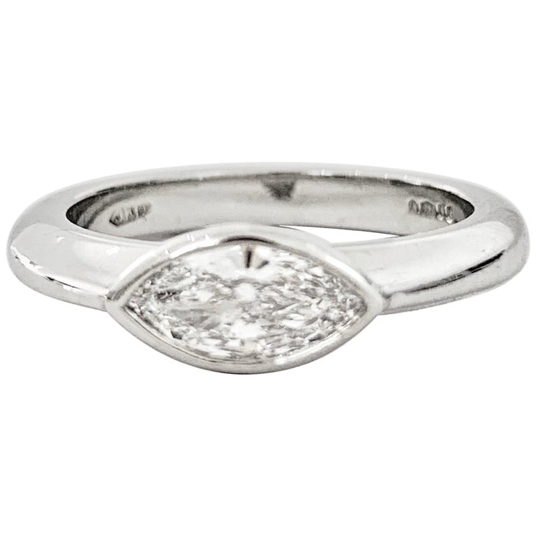IGL Certified .75 Carat Marquise Cut Diamond Platinum Ring For Sale
