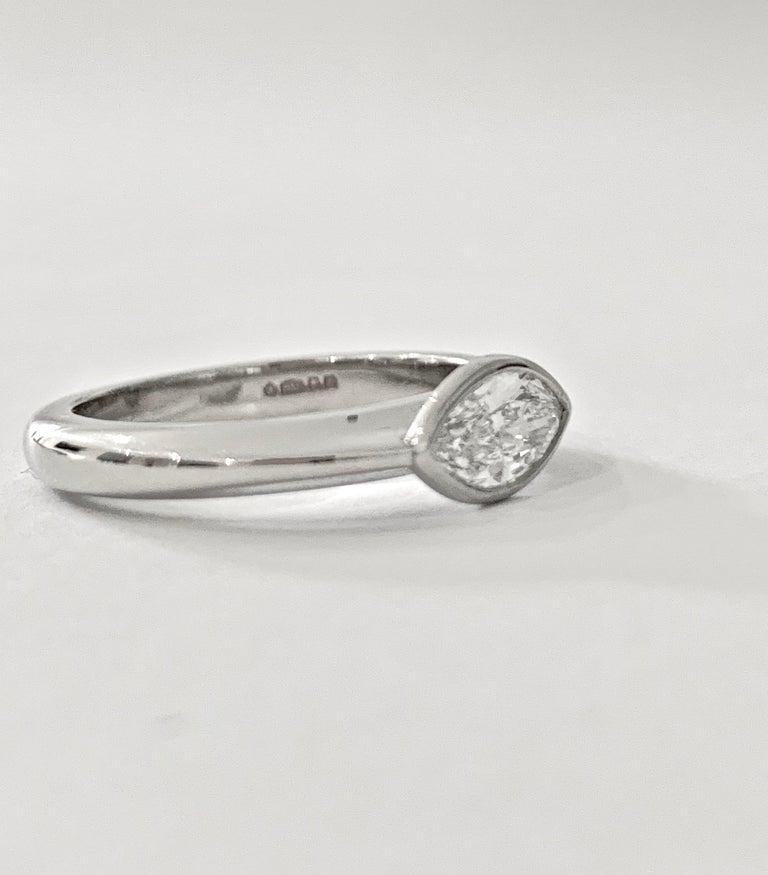 Women's IGL Certified .75 Carat Marquise Cut Diamond Platinum Ring For Sale
