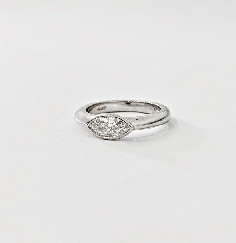 IGL Certified .75 Carat Marquise Cut Diamond Platinum Ring For Sale 2