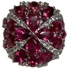 IGL Certified 8.23 Carat Padpardscha Sapphire Diamond Ring