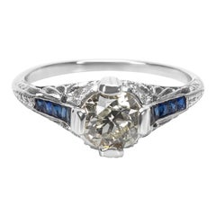IGL Certified Art Deco Estate Diamond and Sapphire Engagement Ring in Platinum