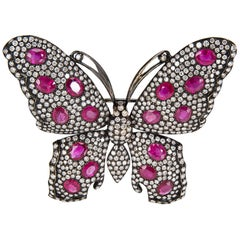 IGL Certified Diamond and Ruby Butterfly Brooch in 18 Karat Gold 6.25 Carat