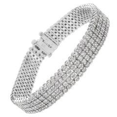 IGL Certified Diamond Tennis Bracelet in 14 Karat White Gold 7.00 Carat