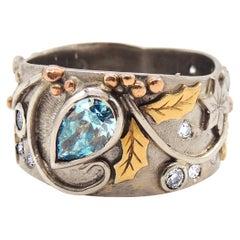 IGL Certified Fancy Blue Diamond Handmade Unique 18 Karat Gold Snowflake Ring
