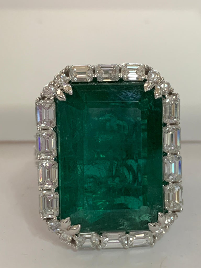 Women's IGLCertified 23.98 Carat Emerald and a Diamond Ring For Sale