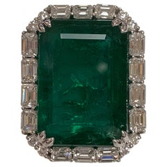 IGLCertified 23.98 Carat Emerald and a Diamond Ring