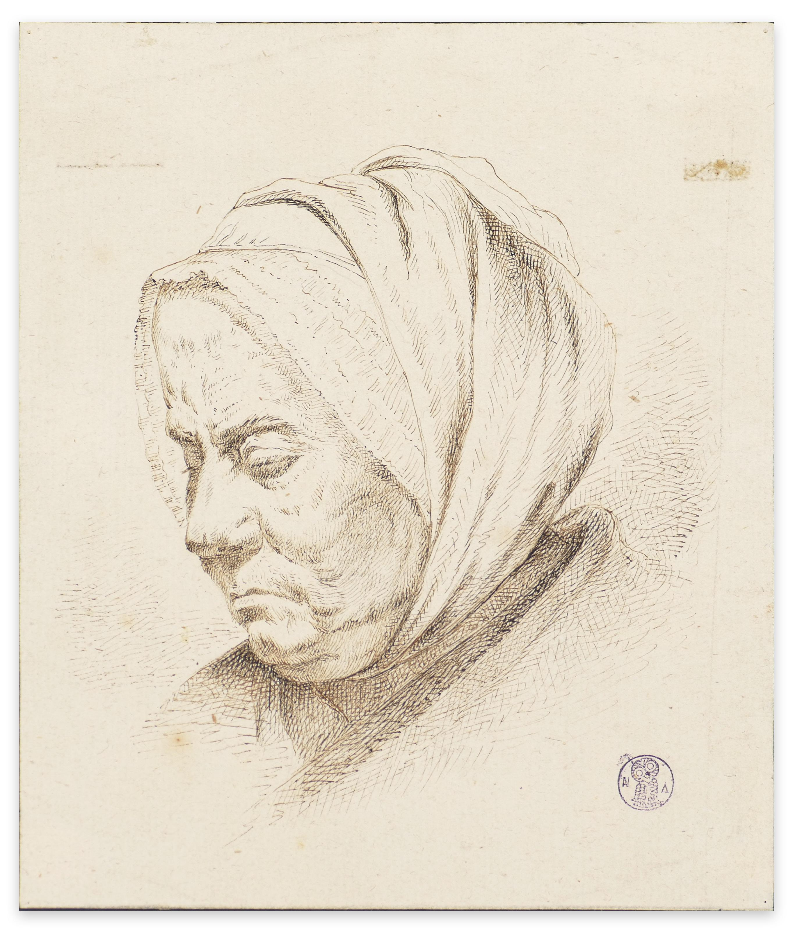 Visage de Femme - Original Etching by I.J. de Caussin - Early 19th Century