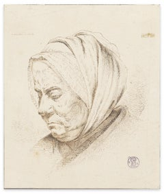 Visage de Femme - Original Etching by I.J. de Caussin - Early 19th Century