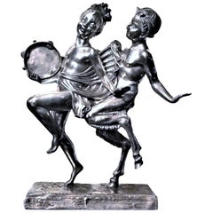 Ignacio Gallo, Dancing with Satyr, Spanish Art Deco Silvered Bronze, circa 1920s