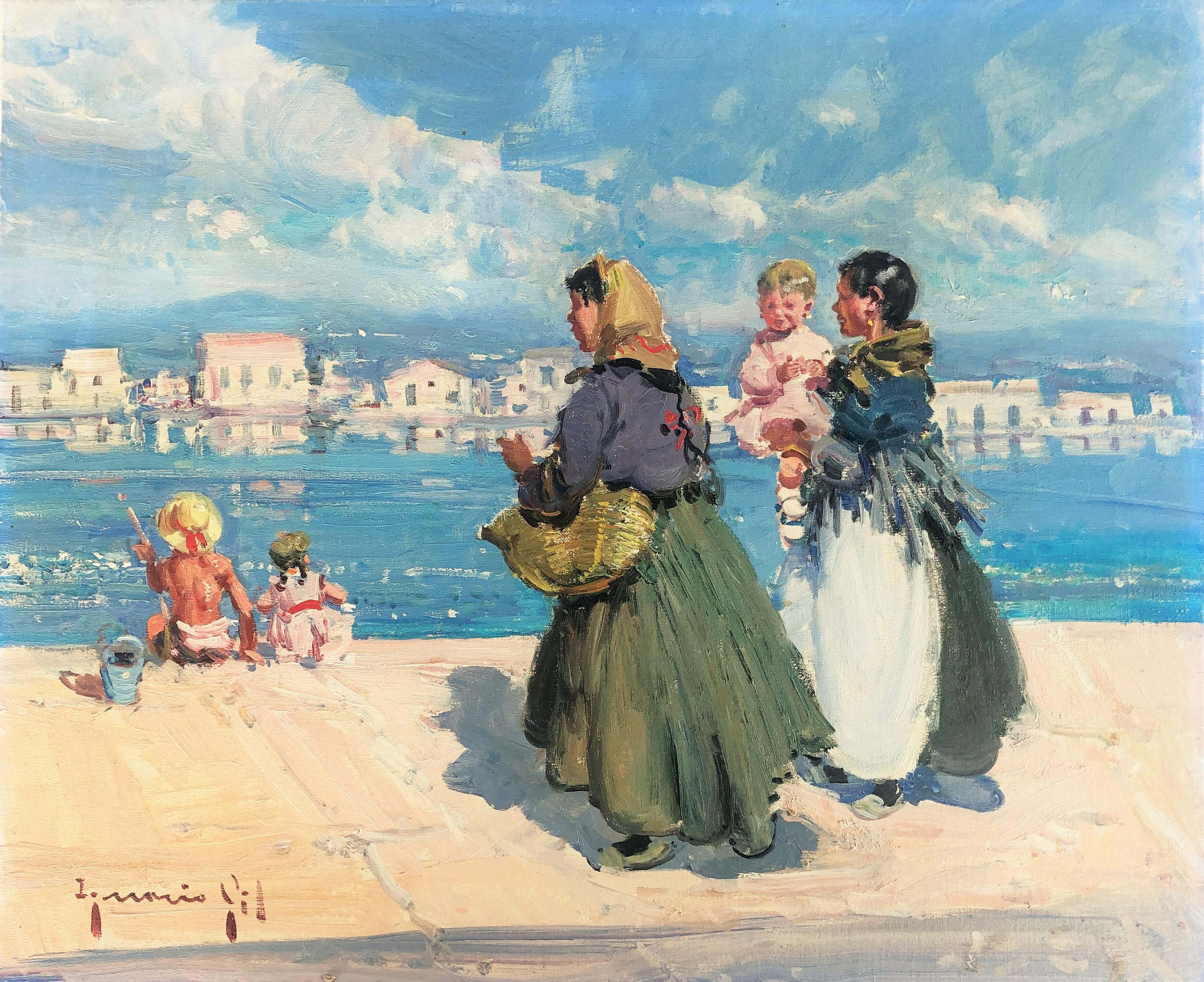 Ibiza port pier Spain oil on canvas painting