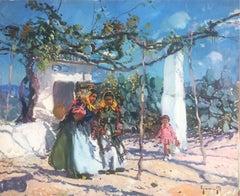 Ibiza scene Spain oil on canvas painting landscape