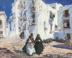 Maternity and white houses Ibiza Spain oil on canvas painting