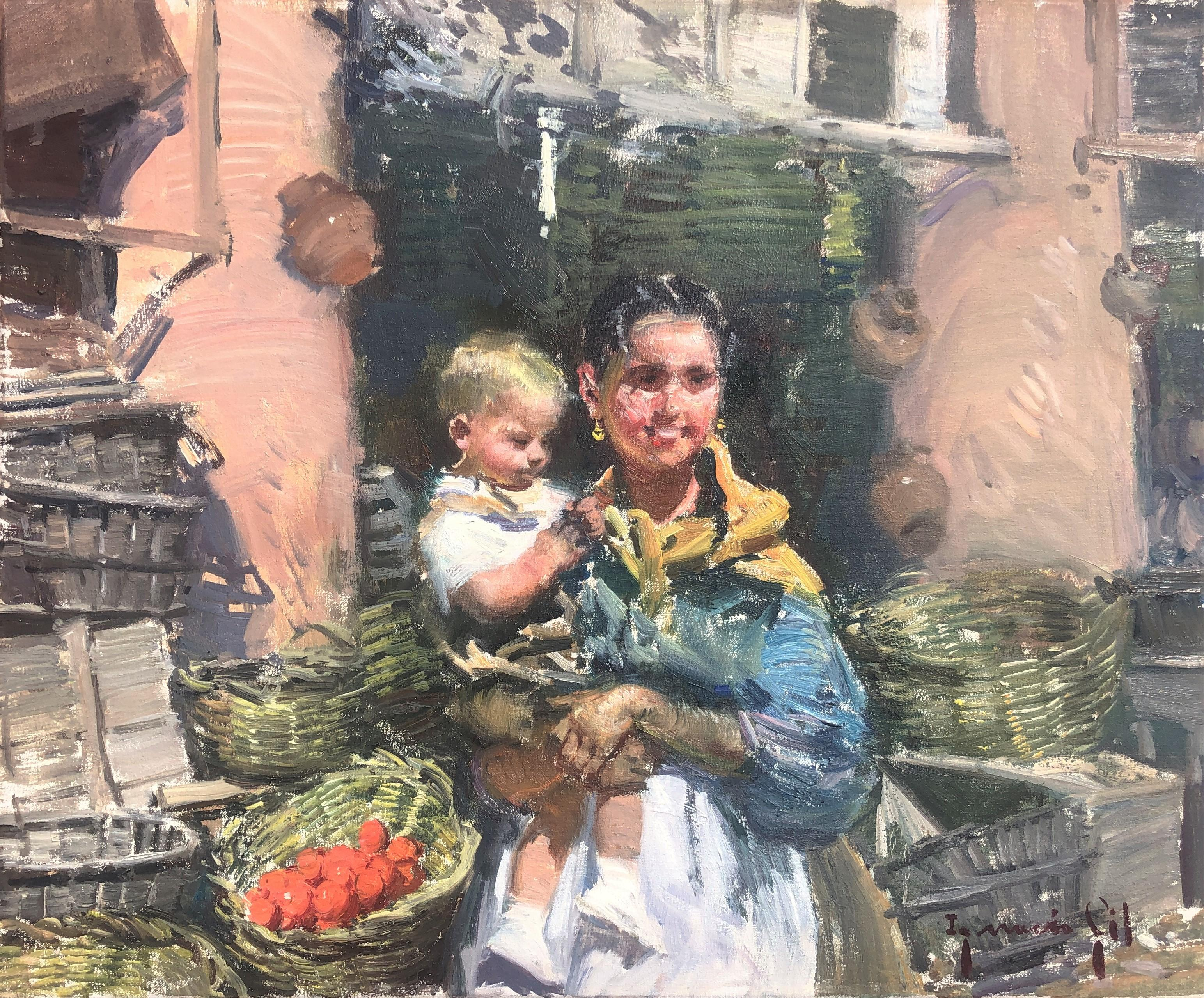 Maternity in Ibiza market Spain oil on canvas painting