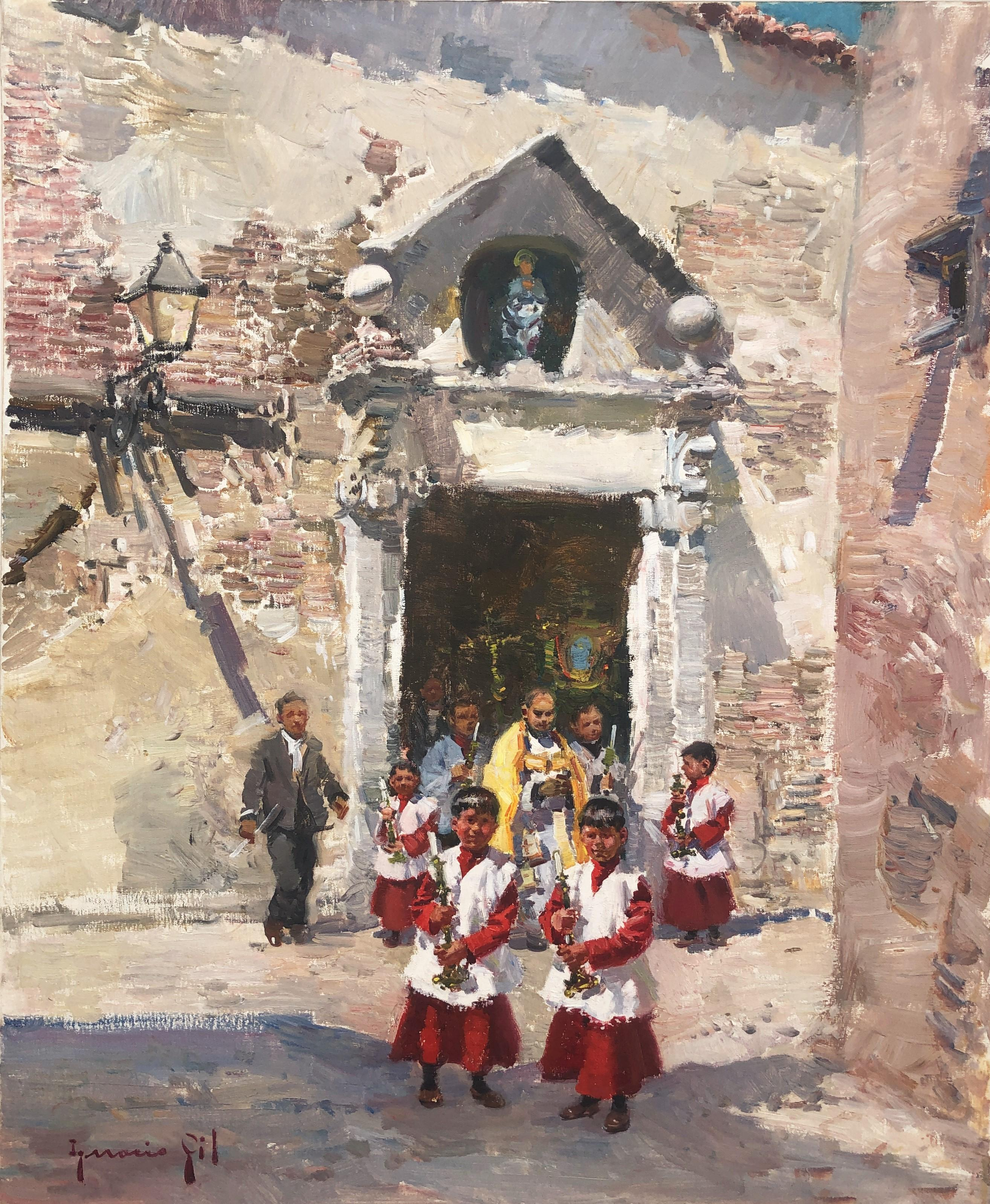 Procession in Ibiza Spain original oil on canvas painting