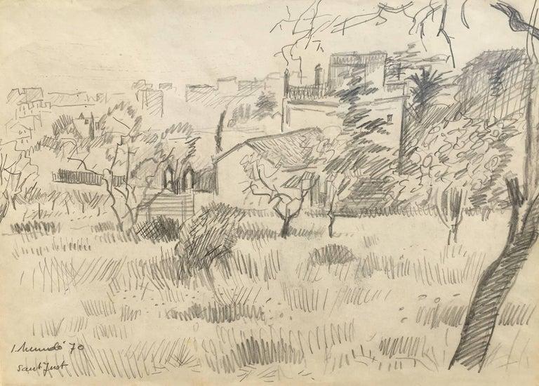 1970-BARCELONA landscape original grawing painting - Painting by Ignasi Mundó