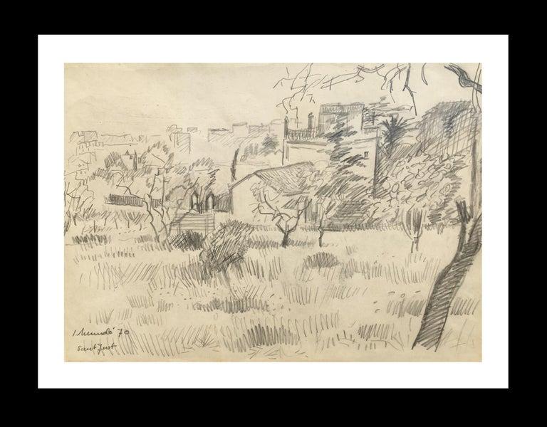 Ignasi Mundó Figurative Painting -  1970-BARCELONA landscape original grawing painting