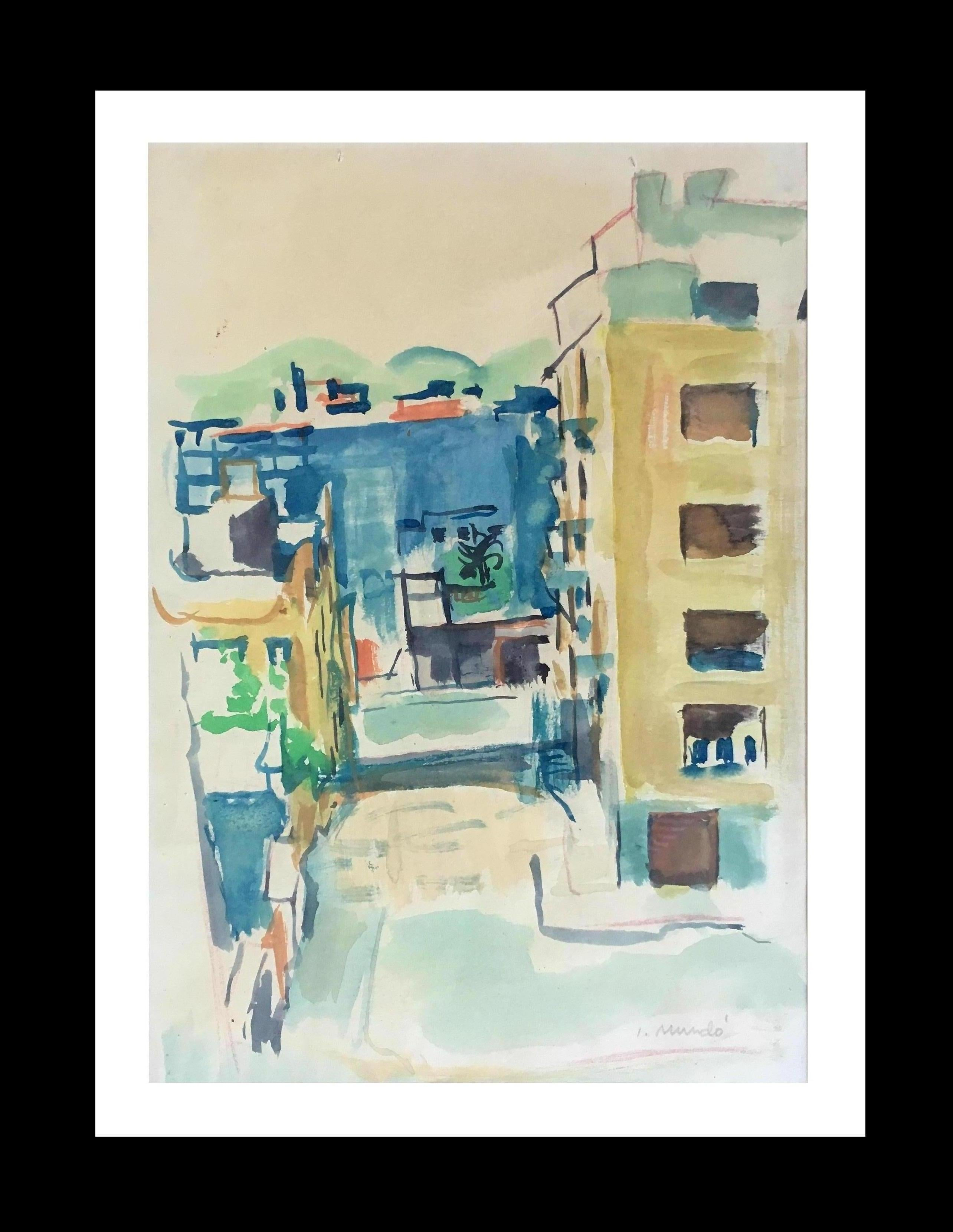 BARCELONA STREET original watercolor painting