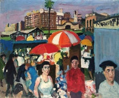 Barcelona view with people Spain oil on canvas painting
