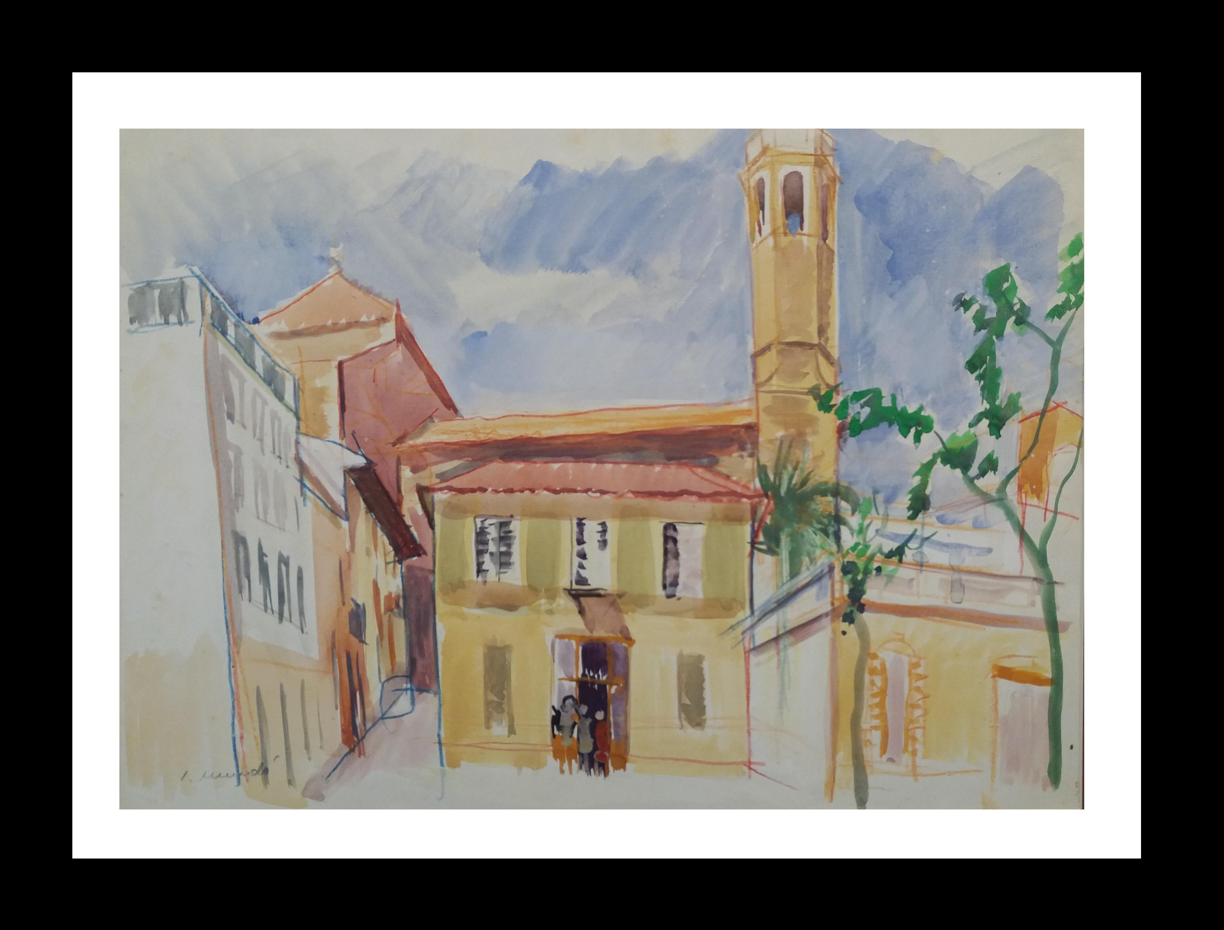Barcelona watercolor original paper expressionist painting