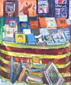 book stand Barcelona still life oil on canvas painting