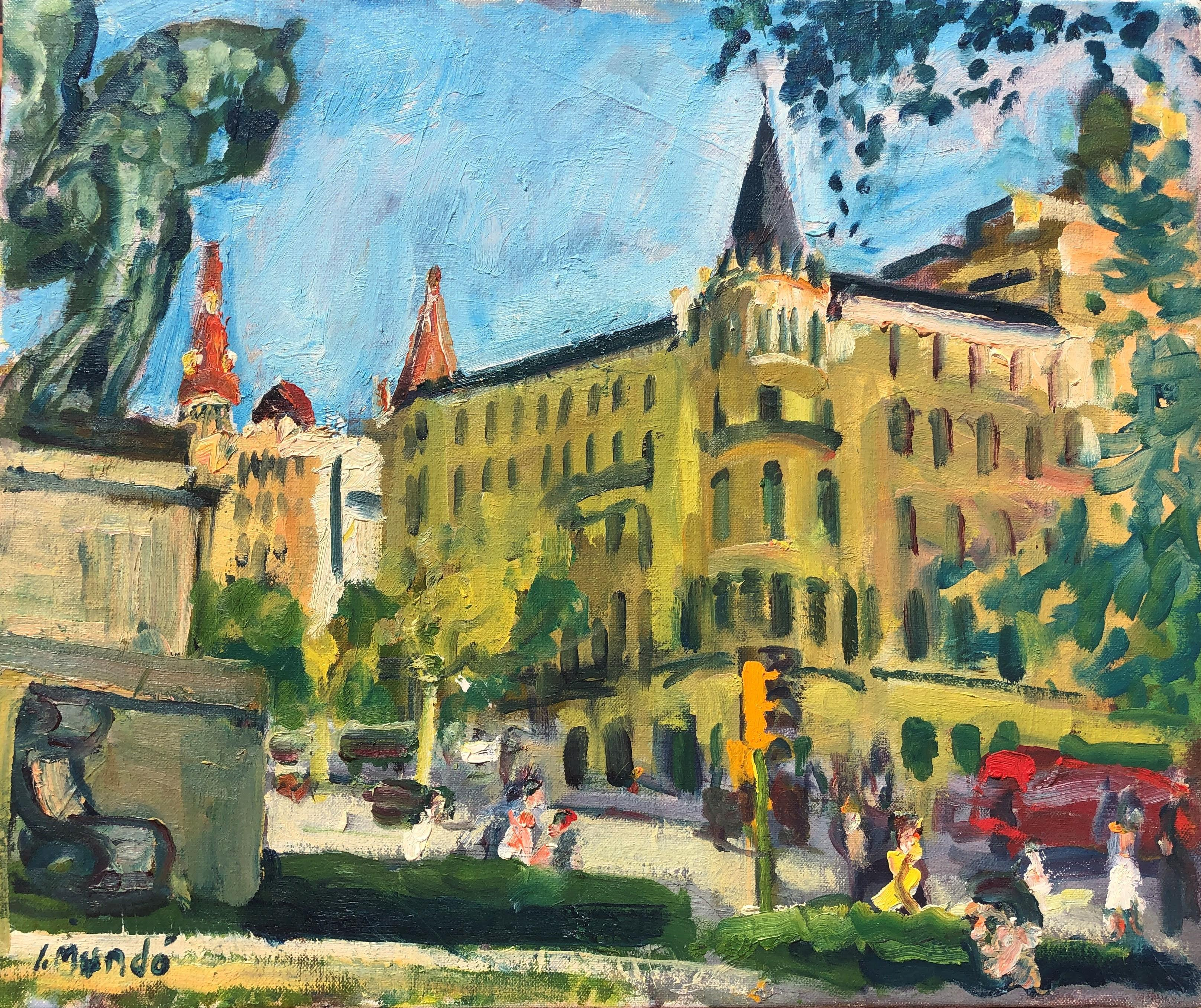 Catalonia square view Barcelona Spain oil on canvas painting