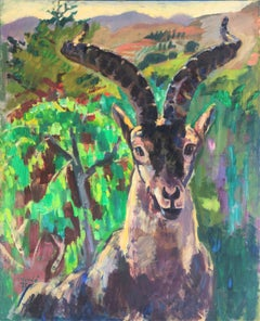 Hispanic Goat landscape oil on canvas painting