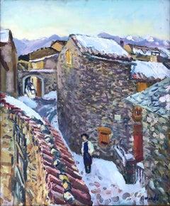 Ignasi Mundo spanish village landscape oil painting