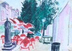 Ingasi Mundo - View of Barcelona original crayons drawing