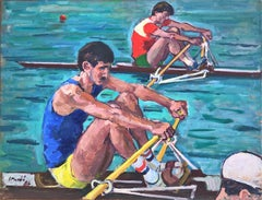 Olympic rowing oil on canvas painting sports