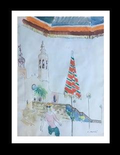 SITGES. Barcelona original watercolor painting