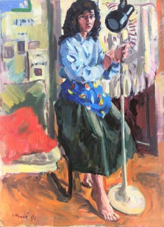The model and the focus oil on canvas painting