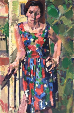 Woman on the balcony original oil on canvas painting fauvism 1968