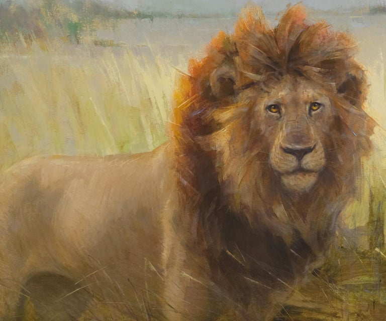 Lion in Botswana, Oil Painting, 40 x 30 Oil, Southeastern Wildlife Exhibition  - Brown Animal Painting by Ignat Ignatov