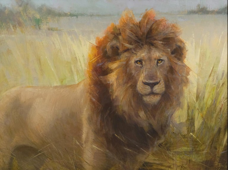 This work of art  was painted from a photo that the gallery owner took on a photo safari to Botswana.  The group trekked for about 45 minutes and then the guides came up and this beautiful lion  and lionesses. Botswana is a very safe country and