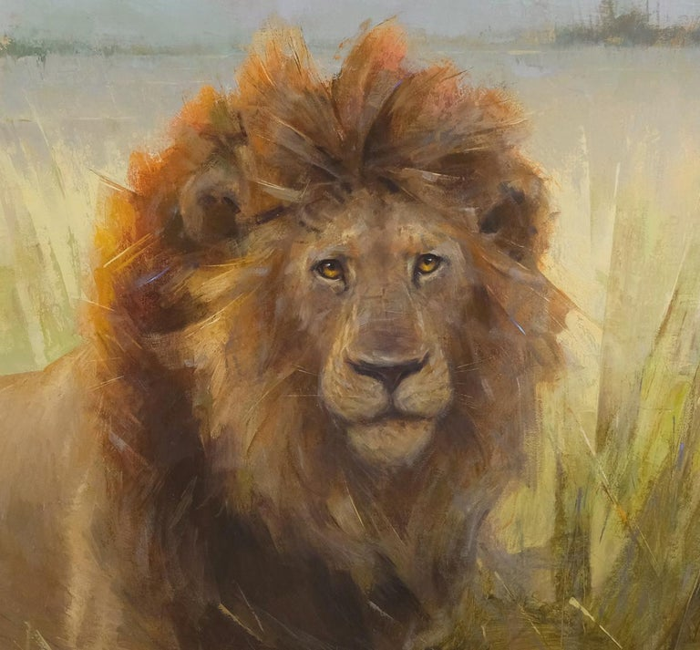 Lion in Botswana, Oil Painting, 40 x 30 Oil, Southeastern Wildlife Exhibition  For Sale 1