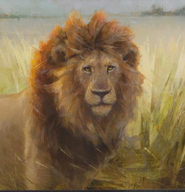 Lion in Botswana, Oil Painting, 40 x 30 Oil, Southeastern Wildlife Exhibition  For Sale 2