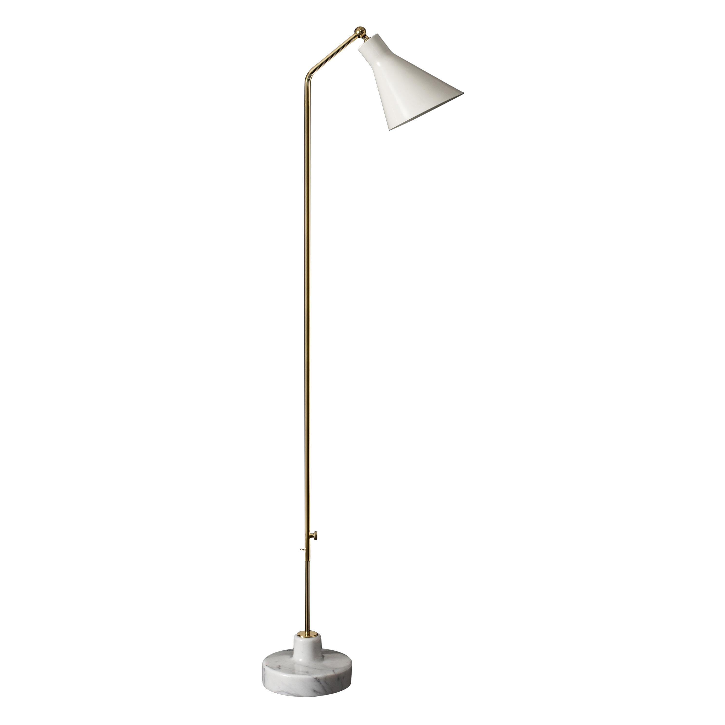 Ignazio Gardella Alzabile Floor Lamp in Brass, White Metal and Marble