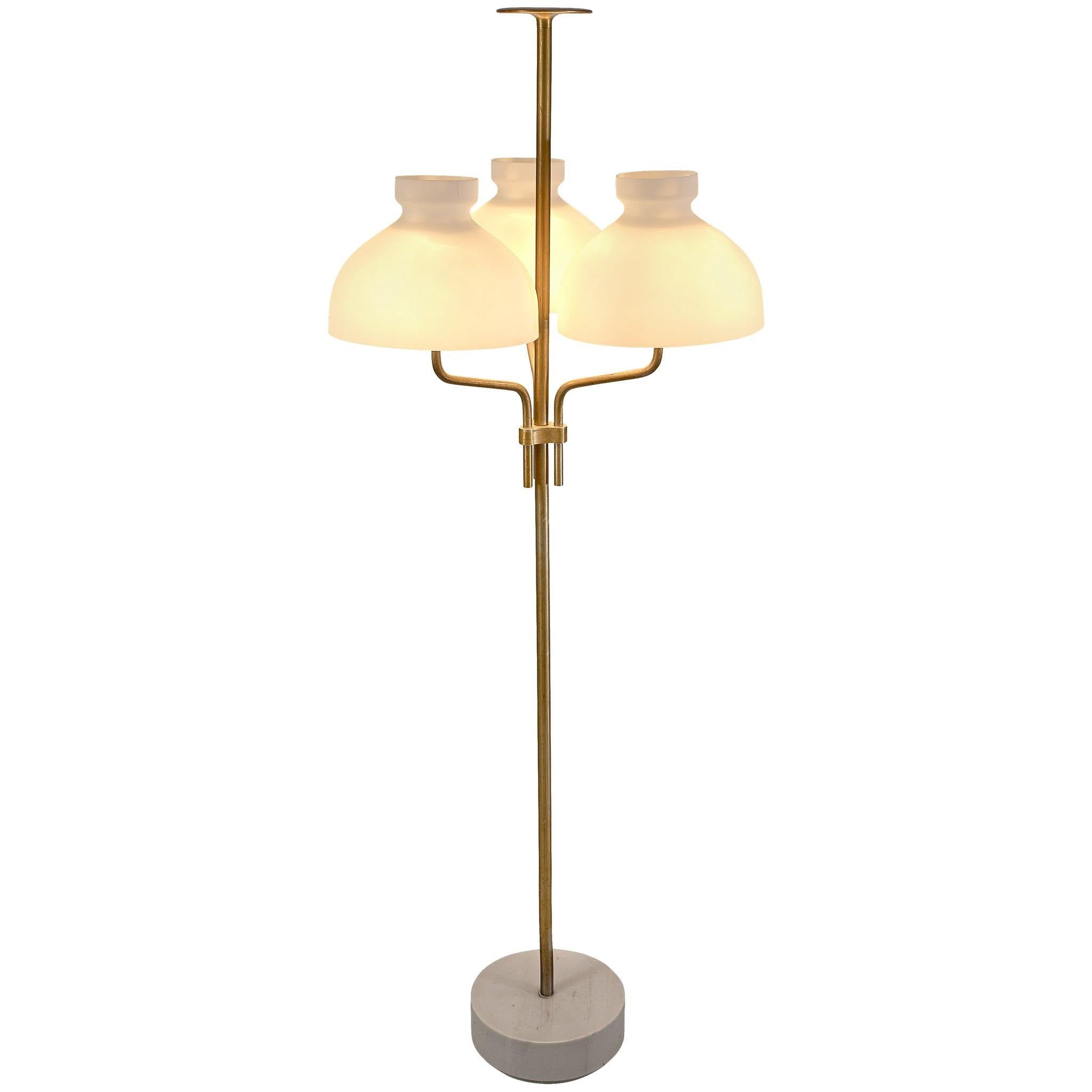 Ignazio Gardella 'Arenzano' Floor Lamp in Brass and Opaline Glass