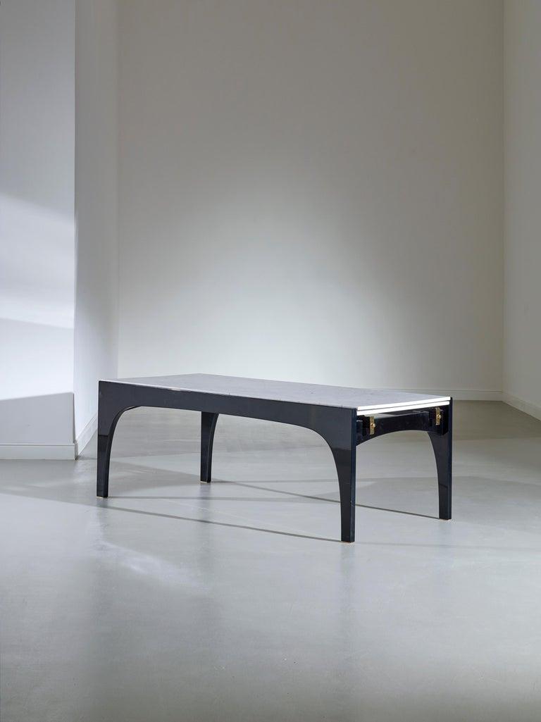 Ignazio Gardella Black Lacquer and Carrara Marble Extendable Dining Table For Sale 2