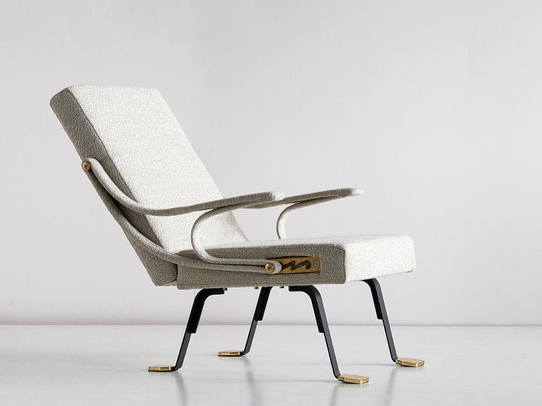 Ignazio Gardella 'Digamma' Armchair in Beige Raf Simons Kvadrat Bouclé Fabric For Sale 5