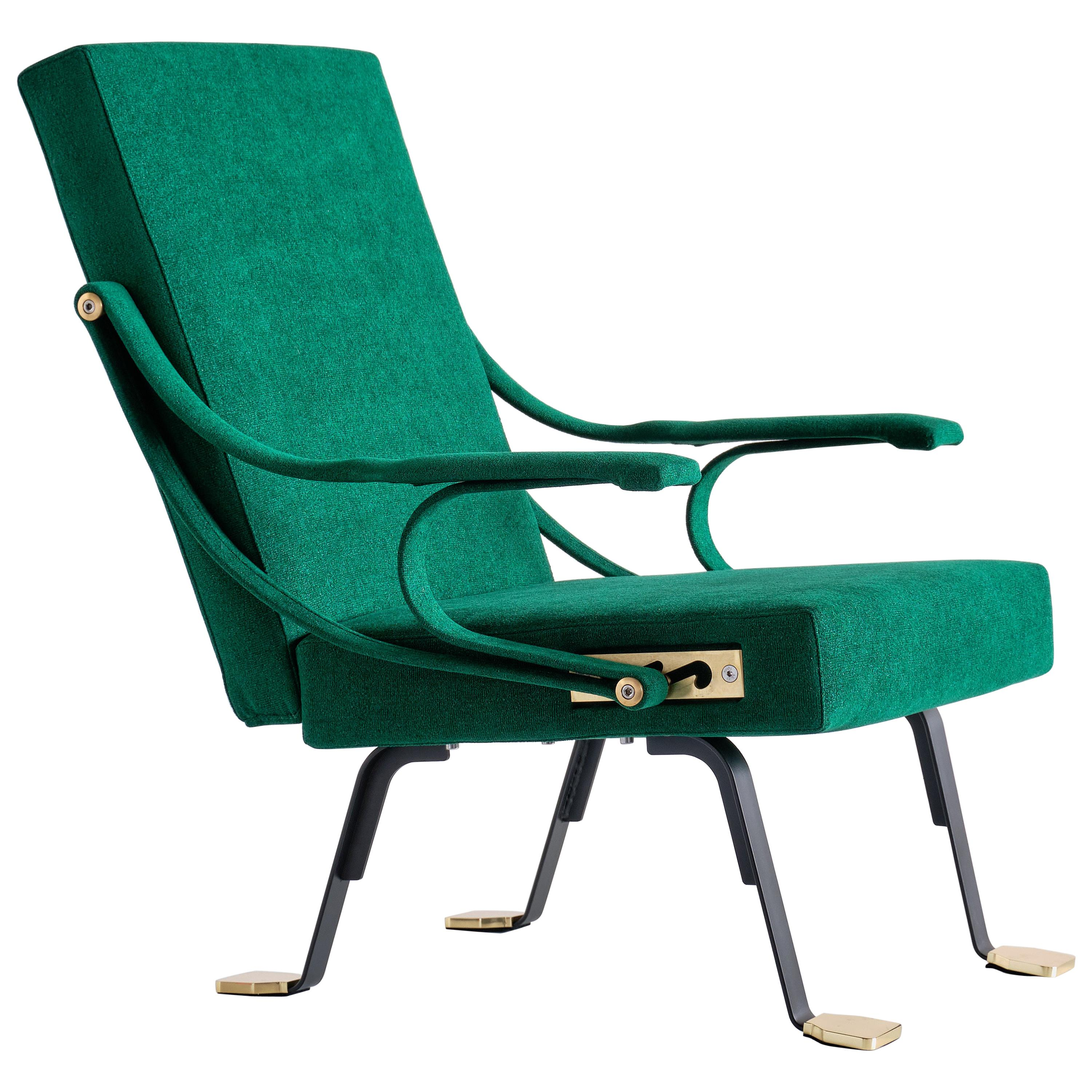Ignazio Gardella 'Digamma' Armchair in Emerald Green Lelièvre Fabric and Brass