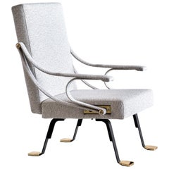 Ignazio Gardella 'Digamma' Armchair in Ivory Lelièvre Bouclé Fabric and Brass