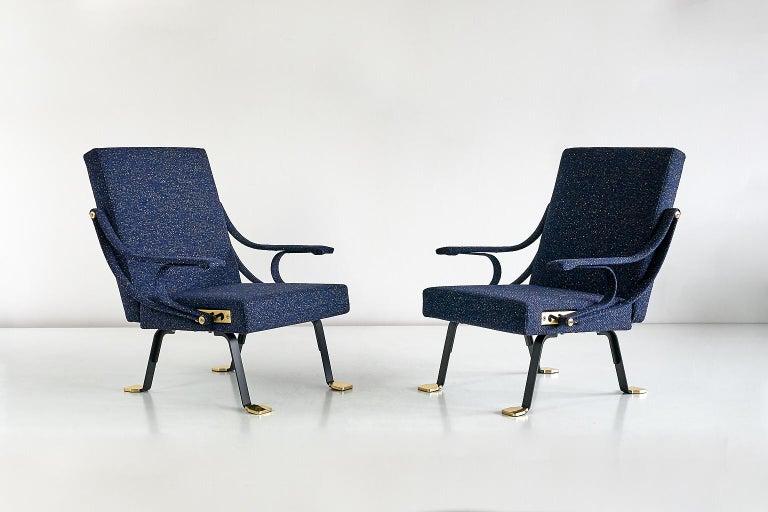 Wool Ignazio Gardella Digamma Armchair in Navy Raf Simons Kvadrat Fabric and Brass
