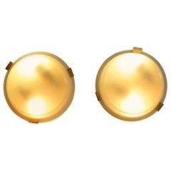 Ignazio Gardella for Azucena Italian Brass Glass Sconces or Ceiling Lamps, 1950s