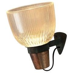 Ignazio Gardella for Azucena Wall Lamp Model 'LP5' in Copper and Glass