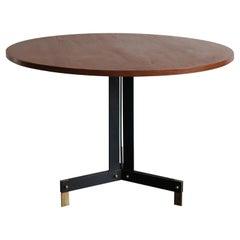 Ignazio Gardella Italian Teak and Brass Round Dining Table, 1950s